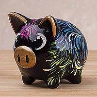 Ceramic piggy bank, 'Sweet Pig in Black' (2.8 inch) - Floral Ceramic Piggy Bank in Black (2.8 inch) from Peru