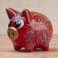 Ceramic piggy bank, 'Sweet Pig in Red' (small) - Floral Ceramic Piggy Bank in Red (Small) from Peru