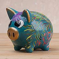 Ceramic piggy bank, 'Sweet Pig in Turquoise' (2.8 inch) - Floral Ceramic Piggy Bank in Turquoise (2.8 inch) from Peru