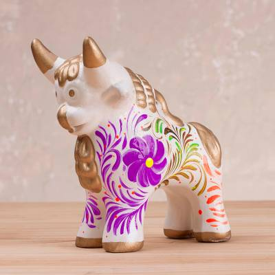 Ceramic sculpture, 'Torito de Pucara' - Hand-Painted Ceramic Pucara Bull Sculpture from Peru