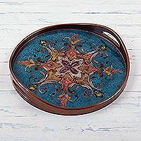 Reverse painted glass tray, 'Blue Andean Starflower' - Circular Blue Floral Reverse Painted Glass Tray from Peru
