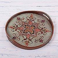 Reverse painted glass tray, 'Orange Andean Starflower' - Brown and Orange Circular Reverse Painted Glass Tray