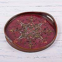 Reverse painted glass tray, 'Fuchsia Andean Starflower' - Circular Reverse Painted Glass Tray with a Black Background