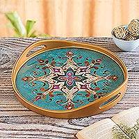 Reverse-painted glass tray, 'Colonial Elegance' - Reverse Painted Glass and Wood Turquoise Floral Round Tray