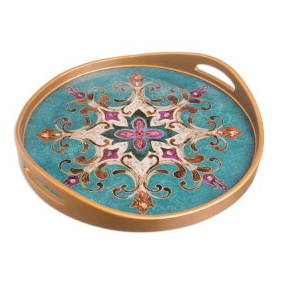 Reverse Painted Glass and Wood Turquoise Floral Round Tray
