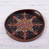 Reverse painted glass tray, 'Butterum Andean Starflower' - Brown on Black Floral Reverse Painted Glass Serving Tray