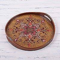 Reverse painted glass tray, 'Spice Brown Andean Starflower' - Spice Brown Circular Reverse Painted Glass Tray from Peru