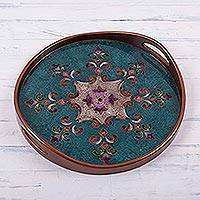 Reverse painted glass tray, 'Teal Andean Starflower' - Teal Blue Tray with Peru Reverse Painted Glass Floral Motifs