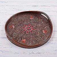 Reverse painted glass tray, 'Pink Andean Daisies' - Daisy Theme Peruvian Reverse Painted Glass Serving Tray
