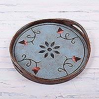 Reverse painted glass tray, 'Blue Andean Daisies' - Peruvian Reverse Painted Glass Blue Daisy Serving Tray