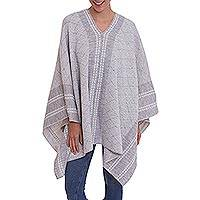 Alpaca blend poncho, 'Grey Heaven' - Grey and White Patterned Alpaca Blend Knit Poncho from Peru