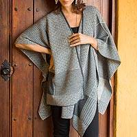 Alpaca blend reversible ruana, 'Grey Medley' - Peruvian Reversible Multi Patterned Grey Alpaca Blend Ruana