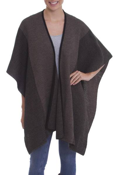 Alpaca blend reversible ruana, 'Simple Elegance' - Reversible Two Tone Alpaca Blend Knit Ruana from Peru