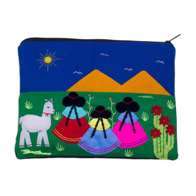 Handcrafted Cotton Blend Patchwork Cosmetic Bag from Peru