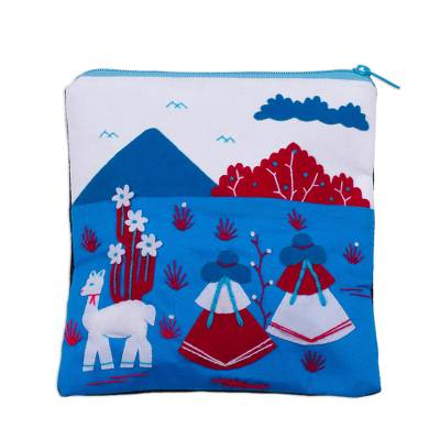 Cotton Blend Patchwork Cosmetic Case in Blue from Peru