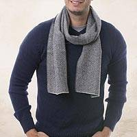 Men's 100% alpaca scarf, 'Grey Herringbone'