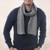 Men's 100% alpaca scarf, 'Grey Herringbone' - Handwoven Grey Herringbone 100% Alpaca Scarf for Men thumbail