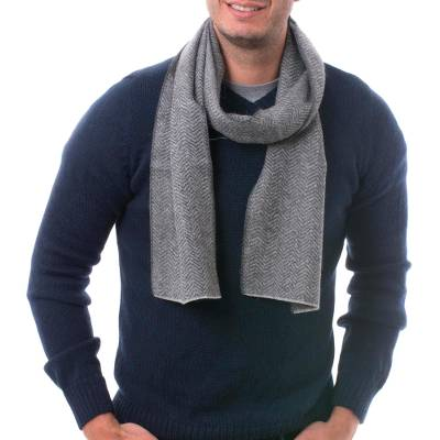 Men's 100% alpaca scarf, 'Grey Herringbone' - Handwoven Grey Herringbone 100% Alpaca Scarf for Men