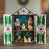 Wood retablo, 'Christmas with the Bora People' - Handcrafted Retablo Diorama Amazon Tribal Nativity Scene