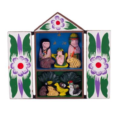 Handcrafted Retablo Diorama Amazon Tribal Nativity Scene