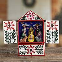 Wood retablo, 'Nativity in Bethlehem' - Handcrafted Ayacucho Wood Retablo from Peru