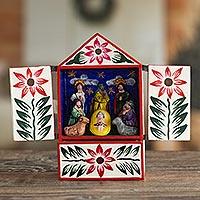 Wood retablo, 'Nativity in Bethlehem' - Handcrafted Ayacucho Wood Retablo from Peru