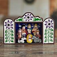 Wood retablo, 'First Christmas in Peru'