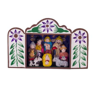 Wood retablo, 'First Christmas in Peru' - Andean Handcrafted Retablo Diorama Folk Art Nativity Scene
