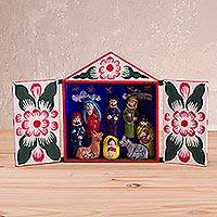 Wood retablo, 'Reverent Christmas Eve' - Ayacucho Style Handcrafted Christmas Eve Retablo Diorama