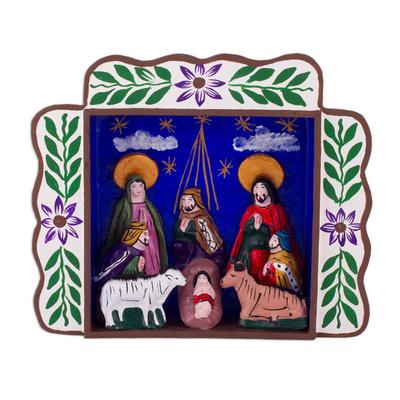 Wood retablo, 'The Magi Bring Gifts' - Three Kings Christmas-Themed Ayacucho Retablo from Peru
