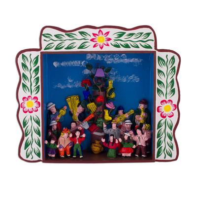 Wood retablo, 'Yunza in Ayacucho' - Wood Celebration Folk Art Retablo from Peru