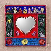 Wood retablo mirror, 'Love Divine' - Handcrafted Retablo Nativity Scene Wall Mirror from Peru