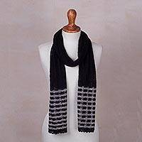 Baby alpaca blend scarf, 'Lacy Black Lattice' - Knitted Black Baby Alpaca Blend Scarf with Grey Stripes