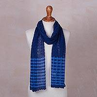 Baby alpaca blend scarf, 'Lacy Blue Lattice' - Prussian Blue Baby Alpaca Blend Lacy Knitted Scarf
