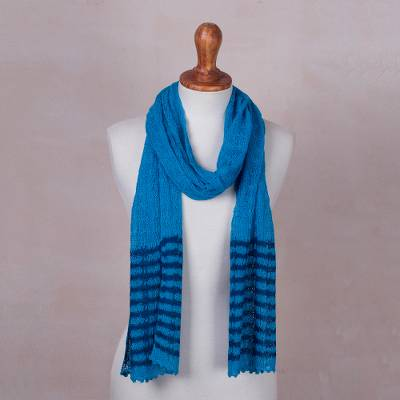 Baby alpaca blend scarf, 'Lacy Turquoise Lattice' - Knitted Turquoise Baby Alpaca Blend Scarf with Grey Stripes
