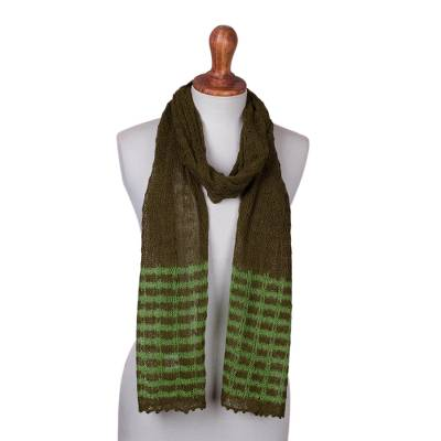 Andean Fair Trade Knitted Green Baby Alpaca Blend Scarf