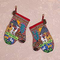 Cotton arpillera decorative mitts, 'Llama Walk' (pair) - Hand Made Cotton Arpillera Decorative Mitts Featuring Llamas