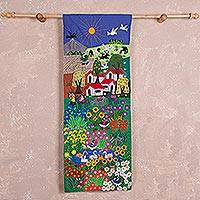 Cotton arpilleria wall hanging, 'Colorful Garden' - Hand Made Cotton Arpilleria Wall Hanging of Peruvian Fields