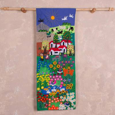 Cotton arpillera wall hanging, Colorful Garden