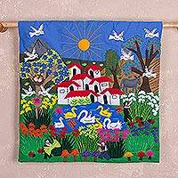 Cotton blend applique wall hanging, 'Andean Valley' - Hand Crafted Fabric Andean Valley Scene Wall Art from Peru