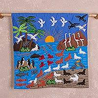 Cotton arpillera wall hanging, 'Paracas' - Hand Made Cotton Arpillera Wall Hanging of Paracas in Peru