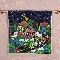 Cotton arpilleria wall hanging, 'Andean Nativity' - Hand Made Cotton Arpilleria Wall Hanging of Andean Nativity
