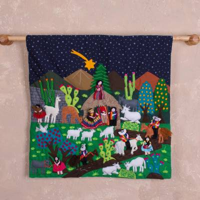 Cotton arpillera wall hanging, Andean Nativity