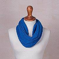 Baby alpaca blend neck warmer, 'Azure Intrigue' - Knitted Azure Baby Alpaca Blend Neck Warmer from Peru