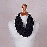 Baby alpaca blend neck warmer, 'Ebony Intrigue' - Knitted Black Baby Alpaca Blend Neck Warmer from Peru
