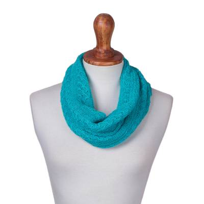 Baby alpaca blend neck warmer, 'Turquoise Intrigue' - Turquoise Baby Alpaca Blend Knit Neck Warmer from Peru