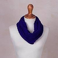 Baby alpaca blend neck warmer, 'Ultramarine Intrigue' - Baby Alpaca Neck Warmer in Ultramarine from Peru
