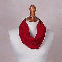 Baby alpaca blend neck warmer, 'Crimson Intrigue' - Crimson Baby Alpaca Blend Neck Warmer Knitted in Peru