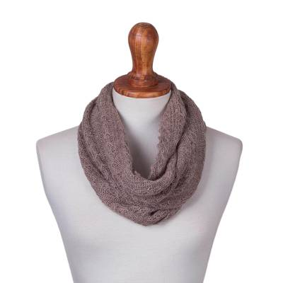Andean Baby Alpaca Blend Warm Taupe Infinity Scarf