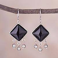 Obsidian dangle earrings, 'Gala Squares' - Black Square Obsidian Dangle Earrings from Peru